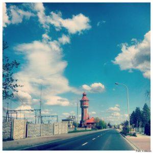 Wieża ciśnień na trasie samochodu Lublin-Brzeg
