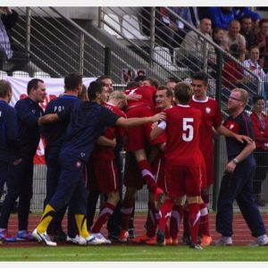 Polska-Słowenia U-18 (34) – Radość po wyrównaniu na 1:1